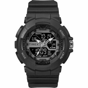 Timex TW5M22500, Tactic DGTL Black Resin Watch, Indiglo, Day/Date, Alarm