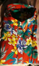 New 3X Hawaiian style cotton button red floral aloha short sleeve shirt