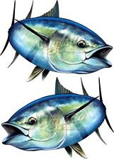 BLUEFIN TUNA x 2 - Mirrored Pair 550mm x 400mm - LARGE BOAT DECALS