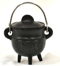 Triple Moon Cauldron Black Cast Iron Smudging-Charcoal-Resin-incense Cones
