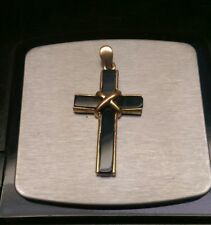 Antique Gold Filled & Onyx Cross Crucifix Victorian Mourning Jewelry