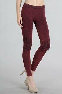 Nikibiki Womens Vintage Burgundy Knee Shirring Long Leggings One Size New