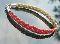 Double sided Faux Leather Cord Braided 6 mm Colours and Gold 925 Silver Bracelet