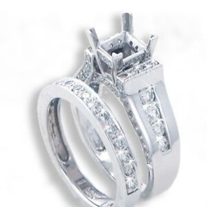 1.40 Carats Round Cut Diamond Engagement Semi Mount and Wedding Band Rings Set
