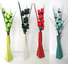 Wooden Roses With Grass In A Twist Ceramic Vase - New Artificial Flower Displays