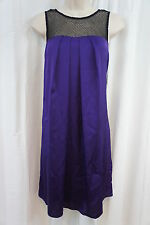 Mattox Dress Sz 4 Eggplant Purple MeshTop Casual Cocktail Party Shirt dress