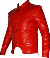 Mens Soft Genuine Real cow Nappa Red Leather Shirt