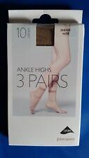 BNIP 3 Pairs of John Lewis Nude Ankle Highs 10 Denier Size UK 4 - 8
