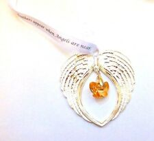 Butterflies & Feathers Appear Guardian Angel Wings Bright Silver Memorial Gift