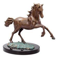"WILD STALLION 12"" BRASS STATUE * Rearing Galloping Horse Figurine Sculpture NEW"