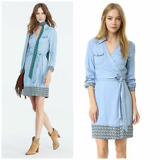 NWT $378 Diane Von Furstenberg DVF Savion Chambray Wrap dress 2