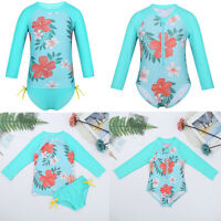 Baby Girls Boys Rash Guard Swimwear UV 50 Long Sleeve Swimsuit Swimming Costume