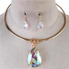 """15"""" ab 1.50"""" teardrop crystal pendant choker bib necklace .50"""" earrings"""