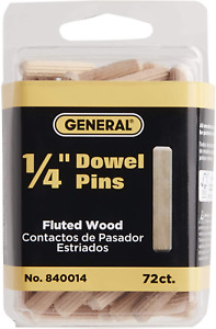 General Tools 840014 1/4-Inch Fluted Wood Dowel Pins 72-Pack