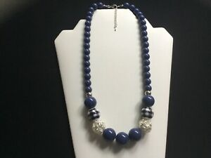 Women's Chunky Denim Blue, Silver And Check Print Beads Necklace - Handmade
