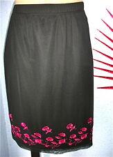 supertoller Rock 2-lagig schwarz pink TREND Gr.40 42 Tüll Stickerei knielang