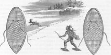 TRIBAL. Indian hunting on snow-shoes 1890 old antique vintage print picture