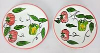 Set Of 2 Pier 1 Hand Painted Salad Dessert Plates Italy Tomato and Green Pepper