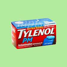 TYLENOL PM 3 Bottles x 225 CAPLETS PAIN RELIEVER  & NIGHTTIME SLEEP AID