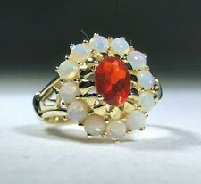 Fire Opal and Australian Opal Cluster Ring - Size 6 -  Silver with Gold Vermeil