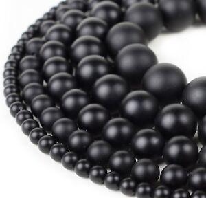 "Natural Matte Black Onyx Beads Genuine Smooth 15""Strand 4mm 6mm 8mm 10mm 12mm"