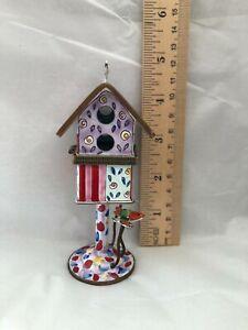 1999 KELVIN CHEN Enamel Hinged Birdhouse Trinket Box  No 750