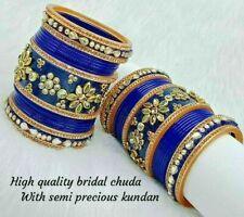 Rajwadi Dulhan Set Wedding Kundan Chura Bridal Bangle Blue Acrylic Plastic
