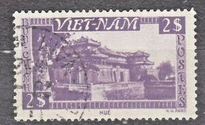 WIETNAM VIETNAM Fr. 1951 used SC#08 2pi stamp, ImperialPalace, Hue.