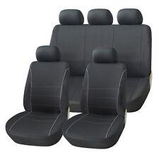 HYUNDAI SANTA FE 01-05 BLACK SEAT COVERS WITH GREY PIPING