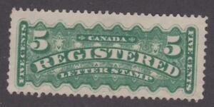 Canada 1876 #F2 Registration Stamp - VF Unused no gum