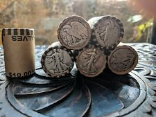 Unsearched Half Dollar Coin Roll With 90% Silver Walking Liberty Coin Showing