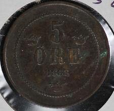 1888 Sweden 5 Ore Coin