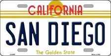 SAN DIEGO CALIFORNIA STATE BACKGROUND METAL NOVELTY LICENSE PLATE TAG