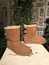 Kids Uggs 1017394k Baily Bow II Sheepskin Chestnut Brown Size 6 Winter Boots