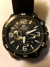 Casio Edifice Men's EFR538L-1AV Analog Leather Watch-Black Dial