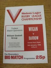 03/01/1982 Rugby League Programme: Wigan v Barrow