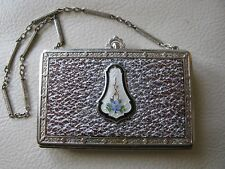 Antique Art Deco Silver White Guilloche Purple Floral Brown Leather Compact DFB
