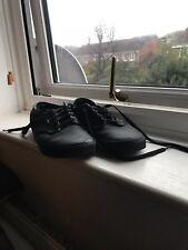 UNISEX VANS AUTHENTIC BLACK LEATHER CLASSIC SKATE TRAINERS SIZE 8 UK