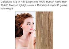 New GOGODIVA HAIR EXTENSIONS CLIPIN #18/613 15 Inch 90g Blonde Highlights
