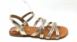 Report Women's GAL Ankle Strap Strappy Flat Dress Sandal Gold Size 6 M US