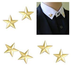 3 Paar Vintage Star Badge Pin, Metall Hemd Anzug Kragen Tipp Brosche Hochzeit