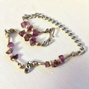 Beautiful Purple Amethyst Gem & Silver Anklet Foot Chain Ankle Bracelet