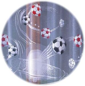 CHILDREN'S KIDS NET CURTAIN PAINTED FOOTBALL SOLD BY METERS