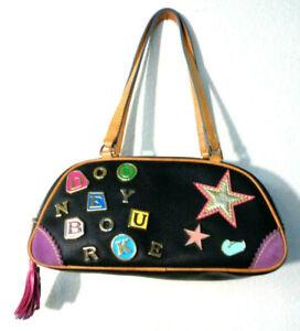 DOONEY & BOURKE Alphabet Charm Bag Black Leather Doctor Bag Top Rainbow Zipper