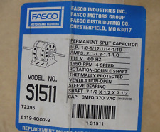 NOS FASCO S1511 1/8hp electric motor 1650rpm permanent split capacitor 115v 2.1a