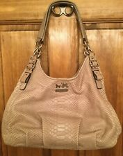 RARE COACH 16506 PEWTER MADISON EMBOSSED PYTHON HANDBAG & STORAGE BAG  - EUC