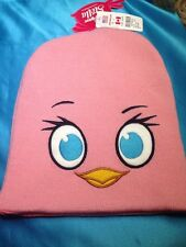 New Claire's Angry Birds Stella Pink Knit Stocking Cap Hat Beanie Reversible