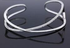 18K Blanco relleno de oro con estilo italiano 18ct GF Crossover Diamante Brazalete 6cm