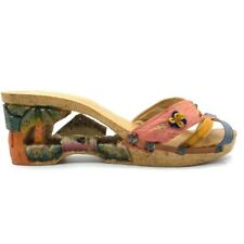 Vtg 1940s Wwii War Bride Hand Carved Wooden Heels Sandals 40s Antique Shoes Asia