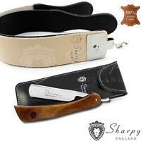 SHARPY - STRAIGHT CUT THROAT SHAVING RAZOR SET STROP STRAP GIFT SET FOR HIM